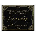 glittery gold black heaven memorial wedding sign photo print