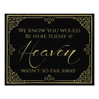 glittery gold black heaven memorial wedding sign photo print