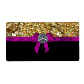 Glittery gold & black shipping label