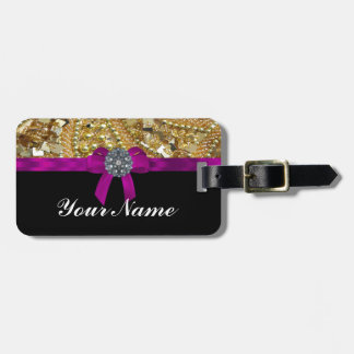 Glittery gold & black tag for bags