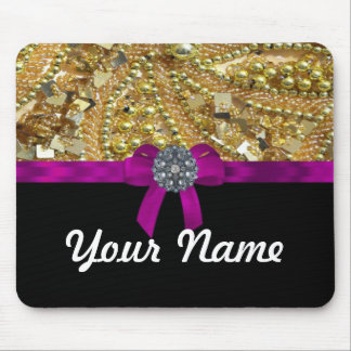 Glittery gold & black mouse pad