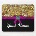 Glittery gold & black mousepad