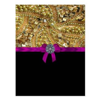 Glittery gold & black postcard