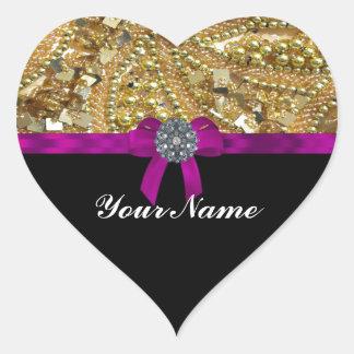 Glittery gold & black heart sticker