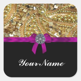 Glittery gold & black square sticker