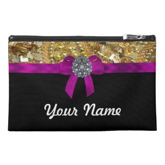 Glittery gold & black travel accessory bag