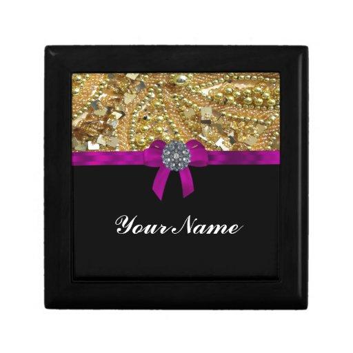 Glittery gold & black trinket boxes