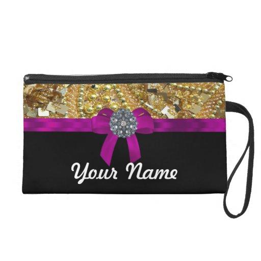 Glittery gold & black wristlet purses