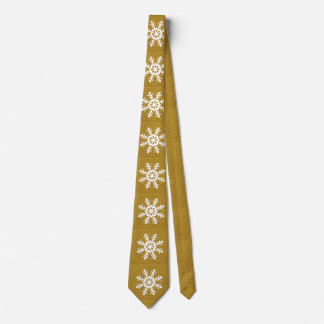 Glittery Gold Christmas Snowflakes Men's Dress Tie