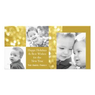 Glittery Gold Holiday Three Photo Card