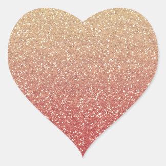 Glittery Gold Melon Heart Sticker