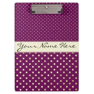 Glittery Gold Polka Dots on Fancy Purple Clipboard