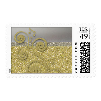 Glittery Gold Silver Music Postage Stamps