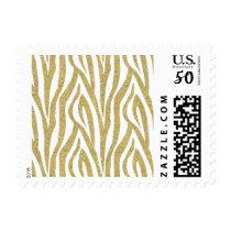 Glittery Gold Zebra Stripes Postage