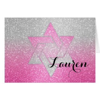 Glittery Gradient Bat Mitzvah Thank You Hot Pink Greeting Card