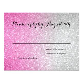 Glittery Gradient RSVP Hot Pink Card