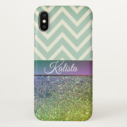 Glittery Green and Purple Chevron iPhone X Case
