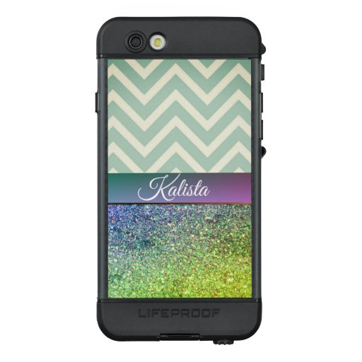 Glittery Green and Purple Chevron LifeProof NÜÜD iPhone 6s Case