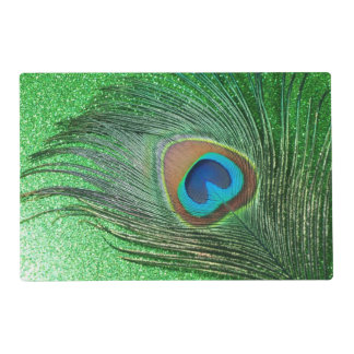 Glittery Green Peacock Feather Placemat