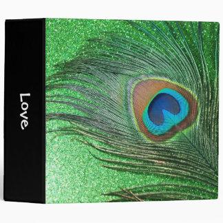 Glittery Green Peacock Feather Still Life Vinyl Binder