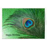 Glittery Green Peacock Feather Still Life Greeting Card