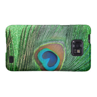 Glittery Green Peacock Feather Still Life Samsung Galaxy SII Case