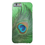 Glittery Green Peacock Feather Still Life Barely There iPhone 6 Case