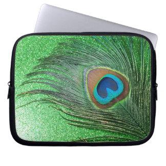 Glittery Green Peacock Feather Still Life Computer Sleeve