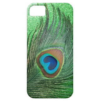 Glittery Green Peacock Feather Still Life iPhone SE/5/5s Case