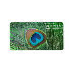 Glittery Green Peacock Feather Still Life Personalized Address Label