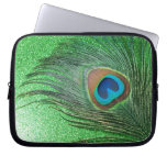 Glittery Green Peacock Feather Still Life Laptop Sleeves