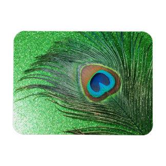 Glittery Green Peacock Feather Still Life Rectangular Photo Magnet