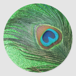 Glittery Green Peacock Feather Still Life Round Stickers
