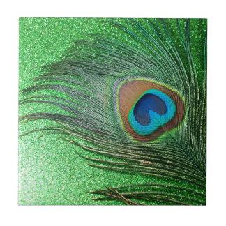 Glittery Green Peacock Feather Still Life Tile