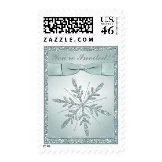 Glittery Green Snowflake Postage stamp