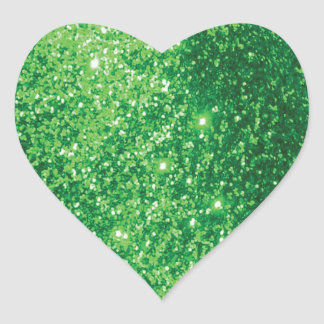 Glittery Green Heart Stickers