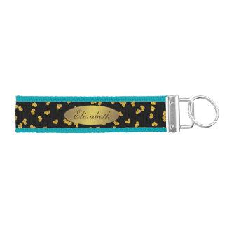 glittery hearts gold on black wrist keychain