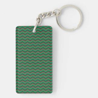 Glittery Holiday Zigzags Keychain