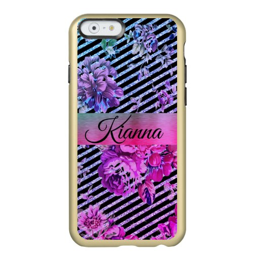Glittery Hot Pink and Teal Floral       Incipio Feather Shine iPhone 6 Case