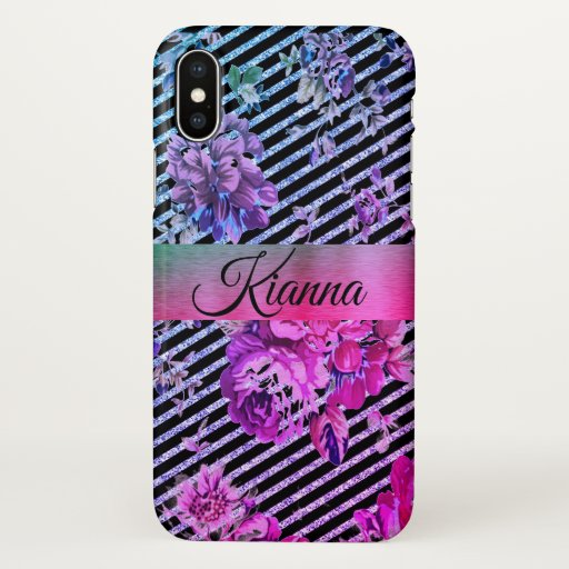 Glittery Hot Pink and Teal Floral        iPhone X Case