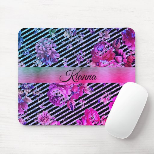 Glittery Hot Pink and Teal Floral       Mouse Pad