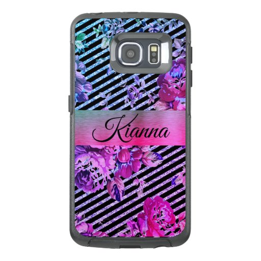 Glittery Hot Pink and Teal Floral   OtterBox Samsung Galaxy S6 Edge Case