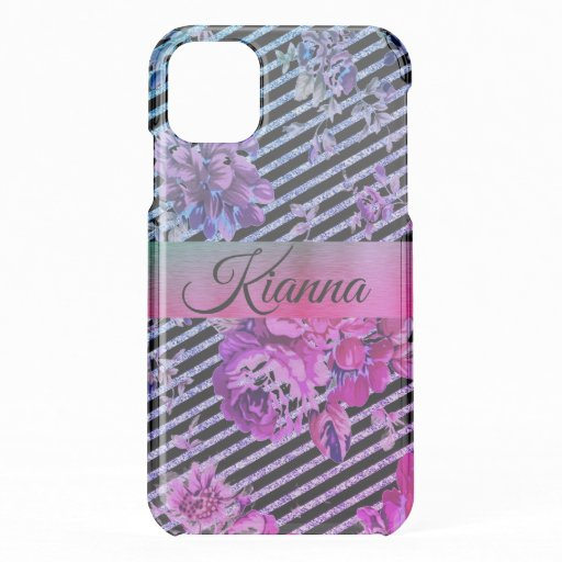Glittery Hot Pink and Teal Floral         iPhone 11 Case