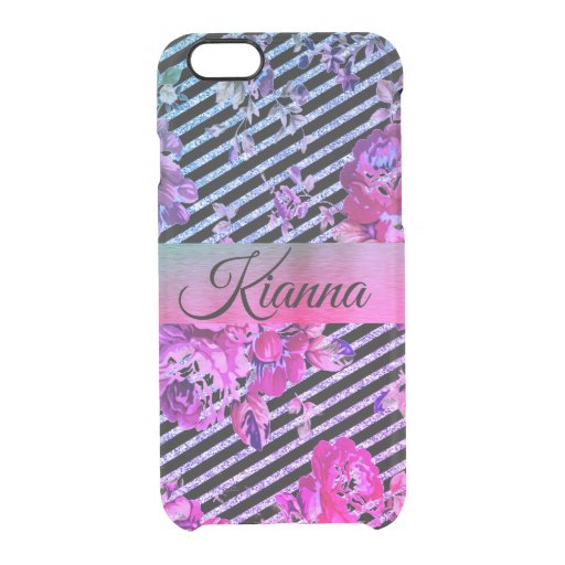 Glittery Hot Pink and Teal Floral      Clear iPhone 6/6S Case