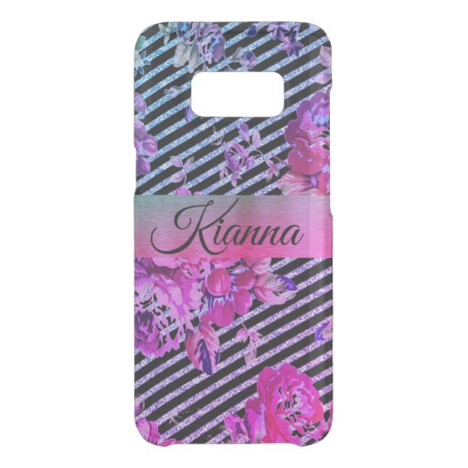 Glittery Hot Pink and Teal Floral    Uncommon Samsung Galaxy S8 Case