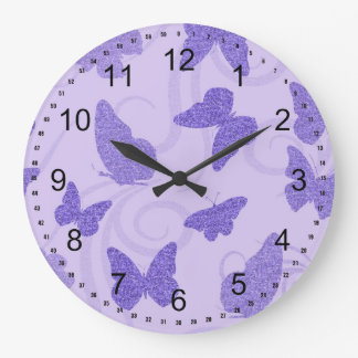 Glittery Lilac Butterflies Wallclocks