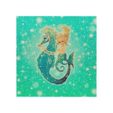 Art Themed Glittery Mermaid on Seahorse Wood Panel Art