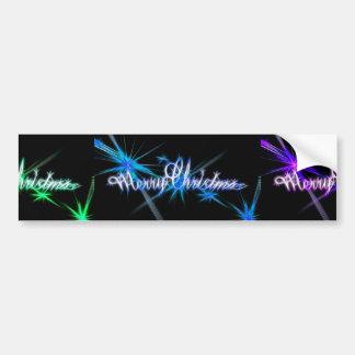Glittery Merry Christmas Typography Car Bumper Sticker