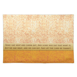 Glittery Orange Polka Dot Selkirk Grace Placemat at Zazzle