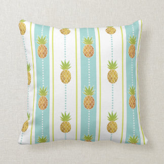 Glittery Pattern Tropical Pineapples & Stripes Throw Pillow